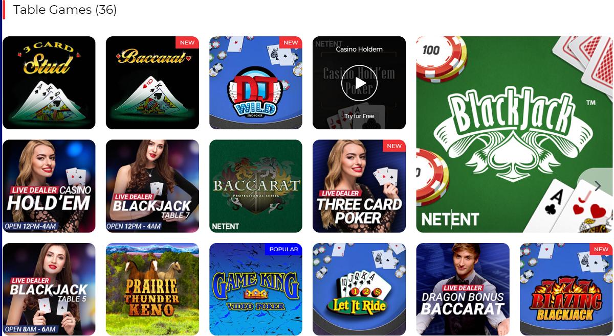BetAmerica Casino Table Games