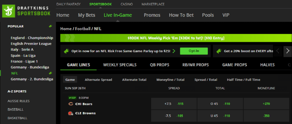 DraftKings NFL Bet Promo
