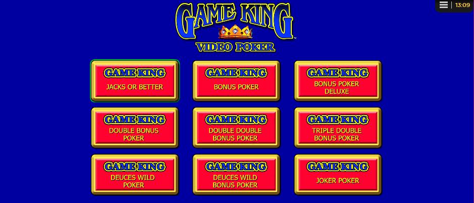 game king video poker game selection