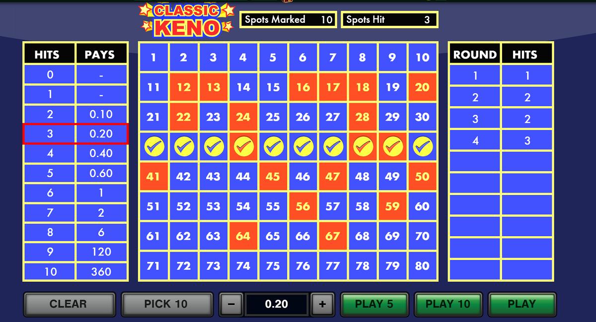 tropicana online casino keno