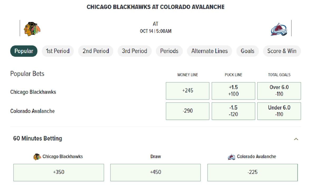 Colorado Avalanche Odds at Caesars