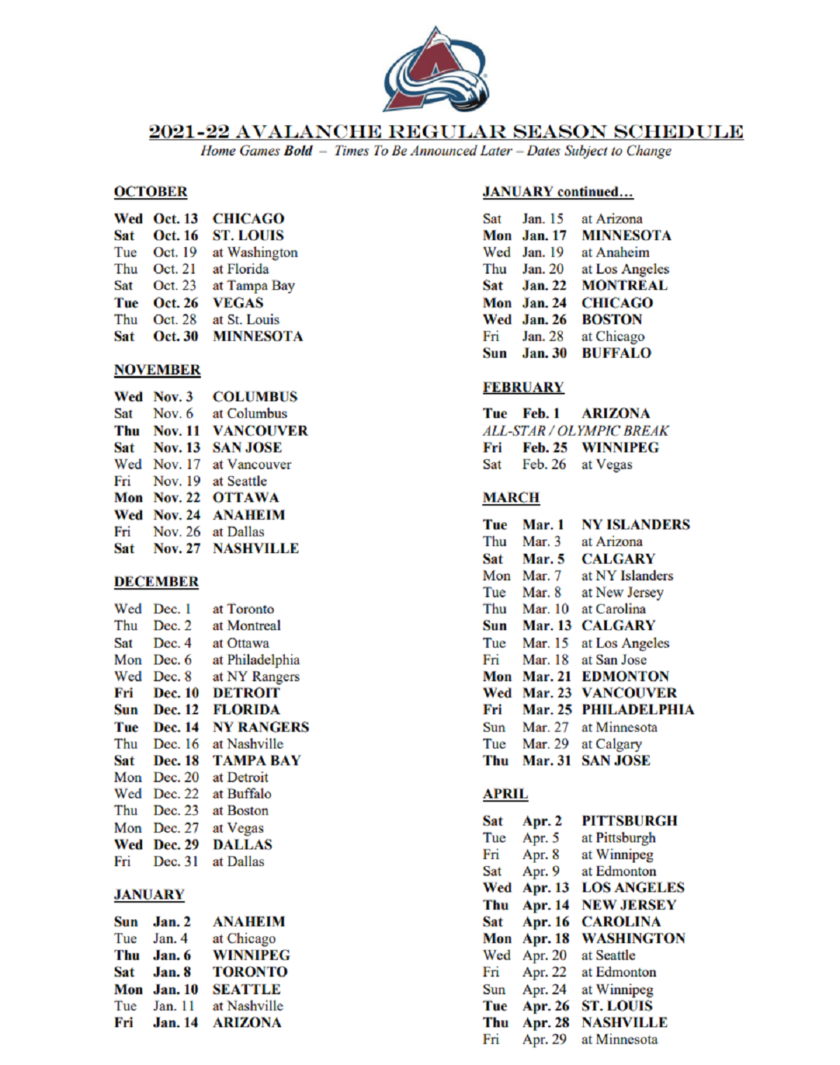 Colorado Avalanche 21-22 schedule