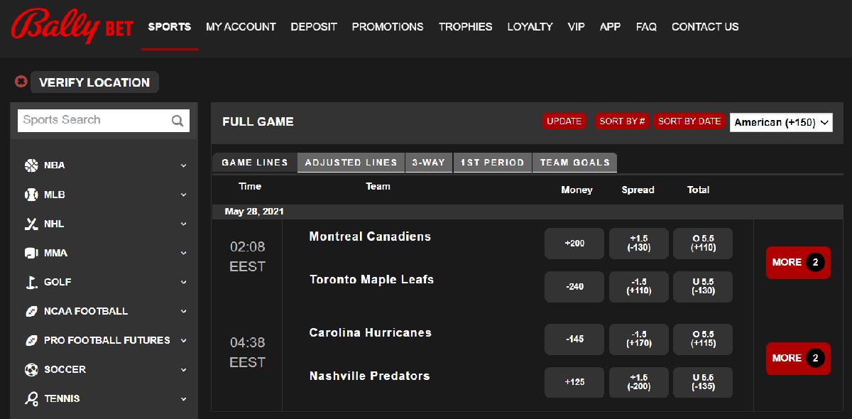 Bally Bet betting options