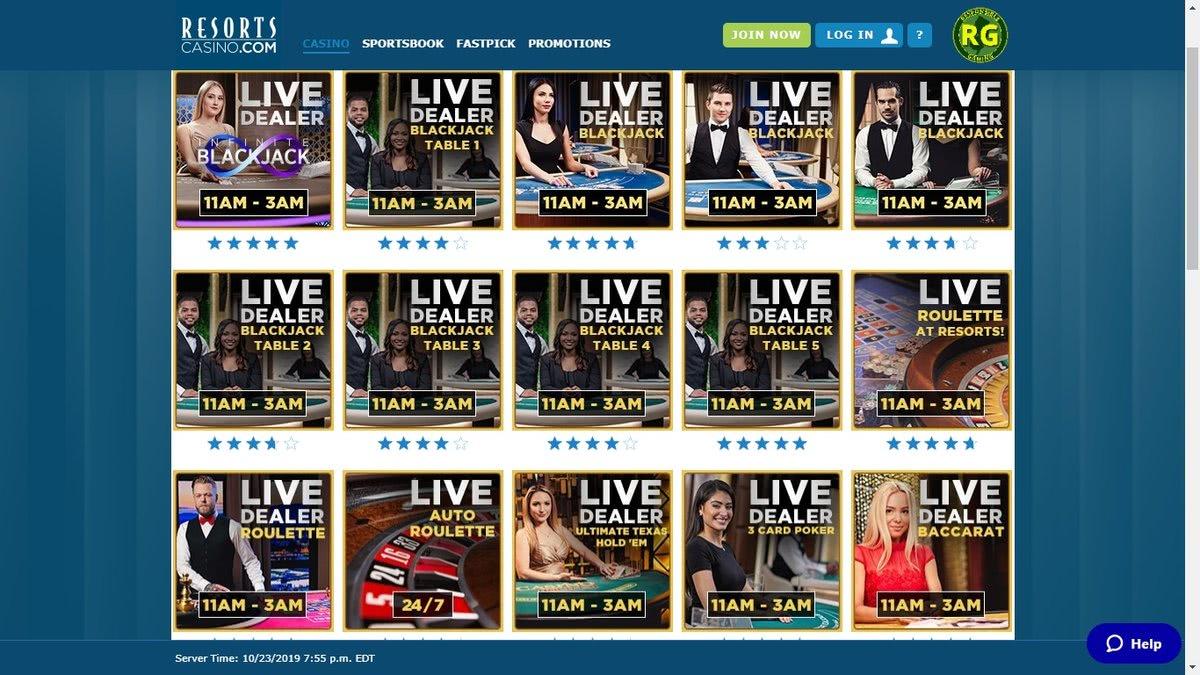 live dealer casinos usa