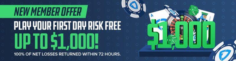 Join Fanduel Casino and get a $1,000 risk-free bonus