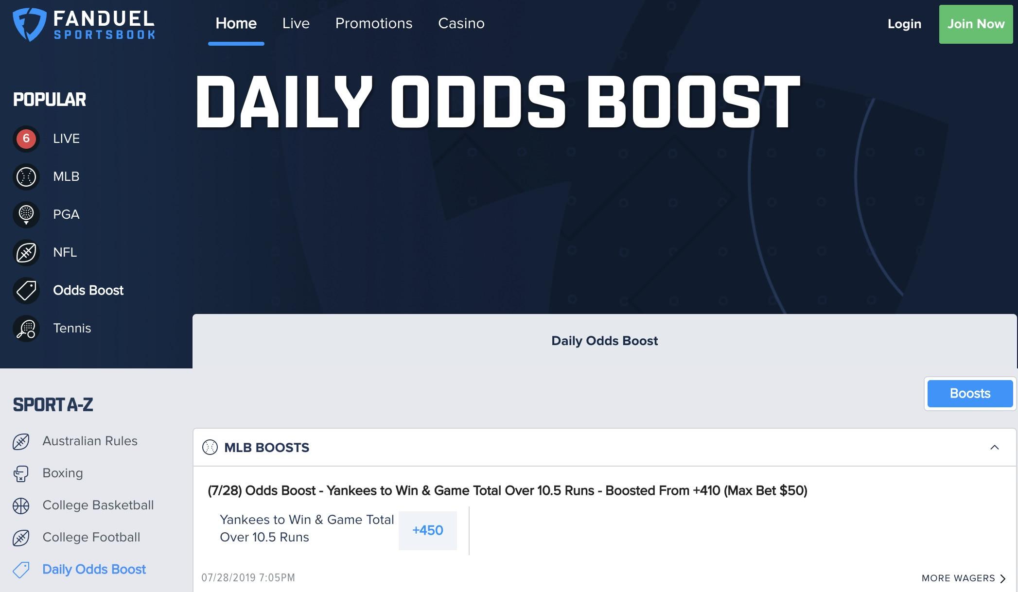 FanDuel odds boost
