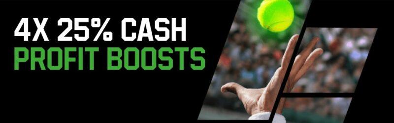 Get 4- 25% unibet tennis cash boosters per week