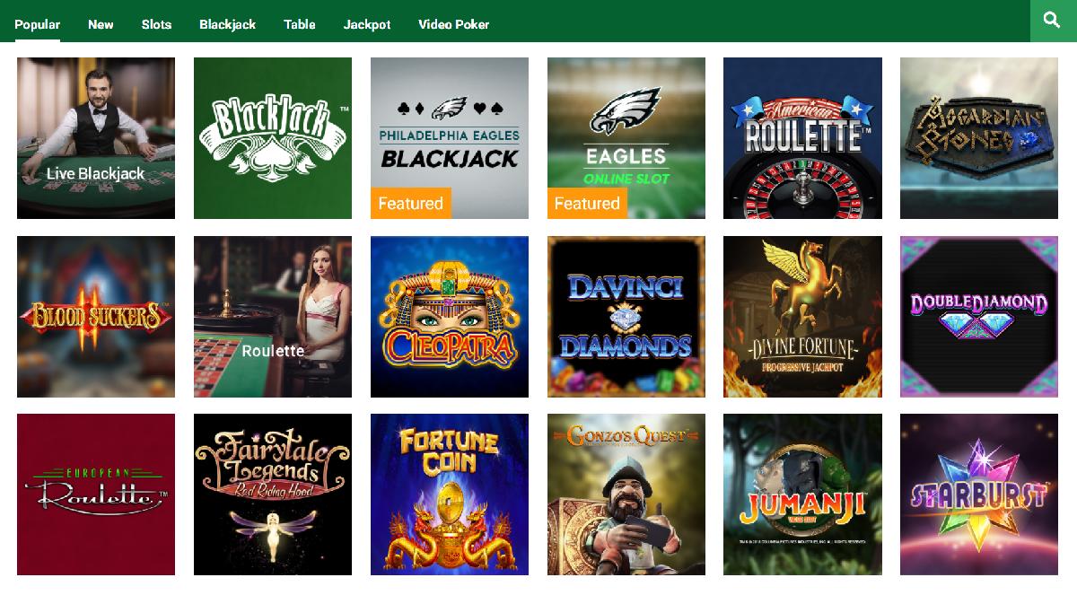 Unibet PA casino games